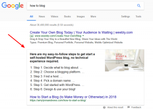 """Shows google search of """"how to blog"""" and a featured snippet explaining the blog."""