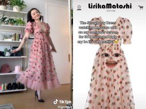 Screenshot of girl in pink strawberry dress on TikTok