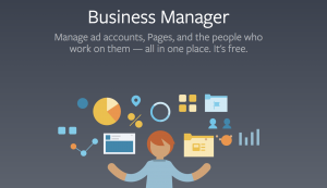 Facebook Business Manager homepage that says 'Business Manager, Manager ad accounts, Pages, and the people who work on them - all in one place. It's free.'