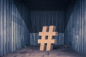 Picture of hashtag sign in storage container.